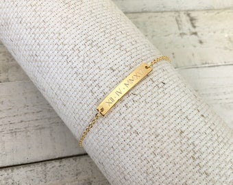 Same Day ship til 2 p.m,Christmas gift,Engraved Special Date Bracelet,Custom,Personalized Jewelry,Roman Numerals,Wedding/Bridesmaid