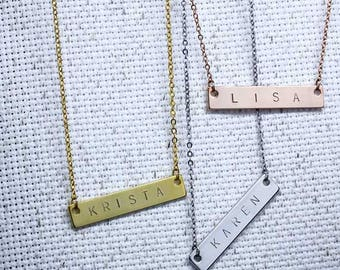 Same Day Shipping til 3 p.m EST,Name Bar Necklace -name necklace,Personalized,Engraved necklace,Custom Jewelry,birthday gift,Graduation gift