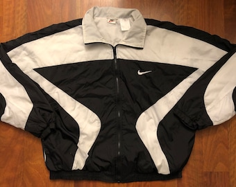 59b6d404d1c4c Vintage 90s Nike Full Zip Windbreaker Jacket Men s Size Large Black White  Swoosh