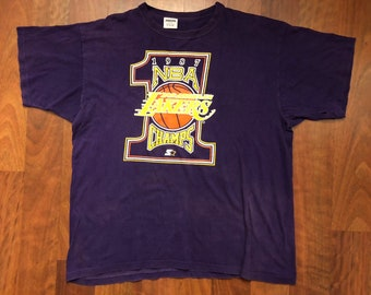 e6d4dff4b9c Vintage Starter Los Angeles Lakers 1987 NBA World Champions T-shirt Men s  Size XL
