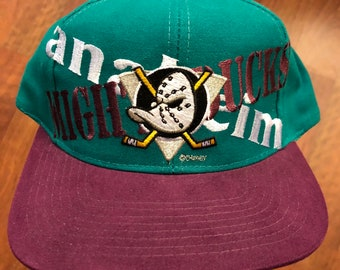 Vintage Anaheim Mighty Ducks Snapback Hat Purple Black Basic  5504f1228c39