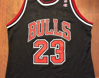 a051e0aaad1 Vintage 90s Chicago Bulls Michael Jordan Champion Jersey Size 48 XL Black  Red