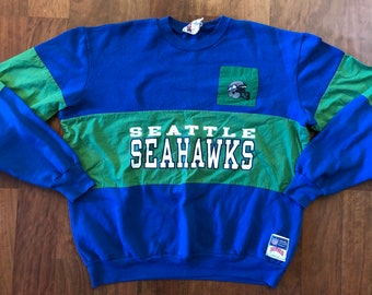 Vintage Seattle Seahawks Crewneck Sweatshirt Men s Size Large Royal Blue  Emerald Green Nutmeg Mills 2cae822bb