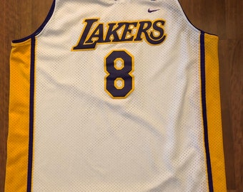 e705869771a Vintage Nike Los Angeles Lakers Kobe Bryant 8 Swingman Jersey Size XL White  Purple Gold