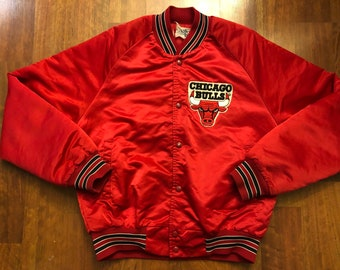 90f7aa86b67 Vintage 90s Chalkline Chicago Bulls Button Down Satin Jacket Men's Small  Michael Jordan