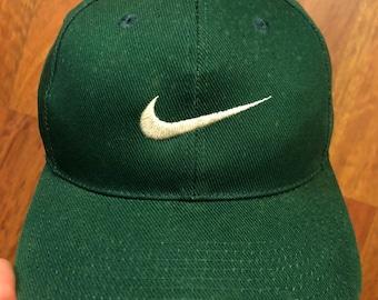 Vintage Nike Snapback Hat Green White Swoosh White Tag 90s Nike 9e2aad9a967