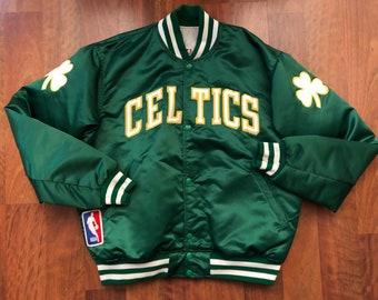 249b42a8bf8 Vintage 90s Starter Boston Celtics Button Down Satin Jacket Men s Size  Large Kelly Green Yellow