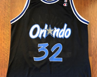 953a69e24 Vintage Champion Orlando Magic Shaquille O Neal Jersey Men s Size 48 XL  Black Royal Blue Shaq Made In The USA