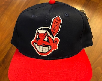 12712a57f3196 NWT Vintage 90s Cleveland Indians Basic Logo Snapback Hat Navy Blue Red  Chief Wahoo