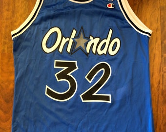 1cc1d6adf78 Vintage Champion Orlando Magic Shaquille O'neal Jersey Men's Size 44 Large  Royal Blue Black Shaq Made In The USA