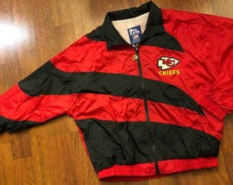 e6ae0f75046 Vintage Kansas City Chiefs Full Zip Windbreaker Jacket Men's Size Large Pro  Player Red Black Made In The USA