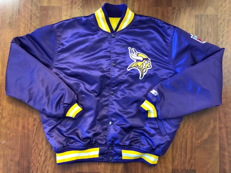 brand new 7b645 a5e9e Vintage 90s Starter Minnesota Vikings Button Down Satin Jacket Men's Size  XL Purple Yellow SKOL