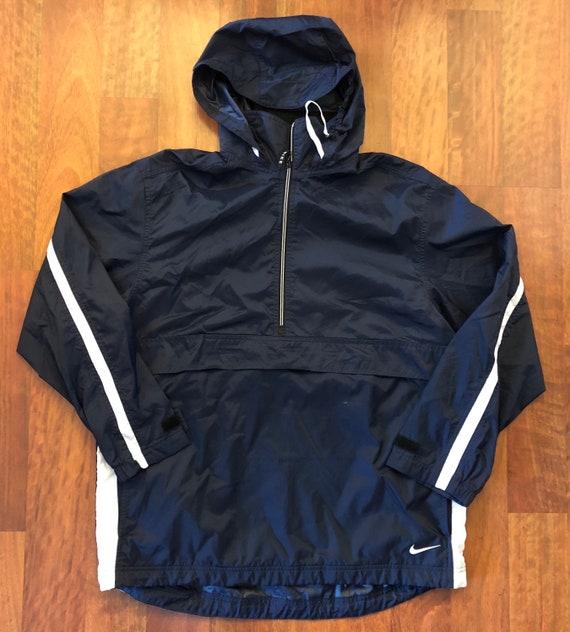 35c207aa6154 Vintage Nike 1 4 Zip Up Windbreaker Jacket Size Medium Navy