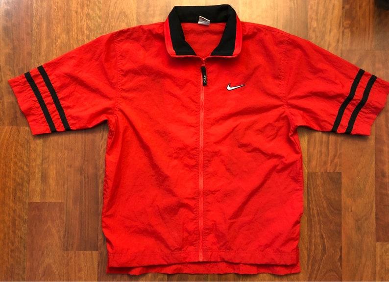 71e4246ffe5a Vintage 90s Nike Short Sleeve Full Zip Windbreaker Jacket Size