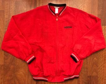 Vintage Adidas Full Zip Windbreaker Jacket Size Large Red Black Grey