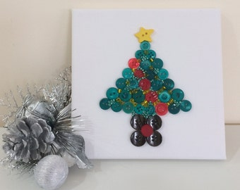 Ready to Ship! Button Canvas Artwork (15cm x 15cm) - Christmas Tree