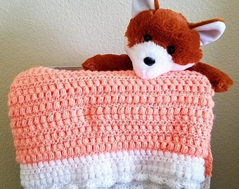 """Peach and White """"Creamsicle"""" Baby Blanket"""