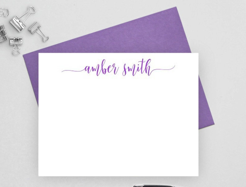 personalized stationary set flat note card personalized note card set NC4 calligraphy Custom stationery Personalized stationery set