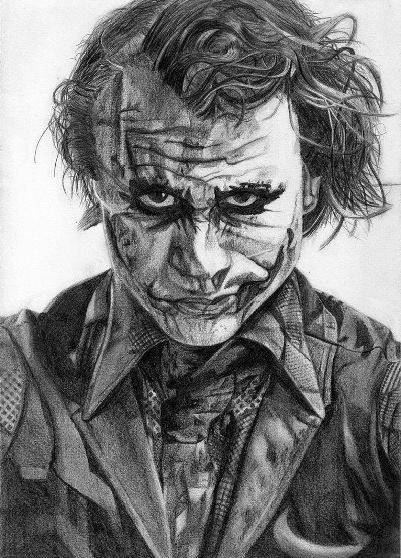 Heath ledger protraying the joker pencil drawing a4 print