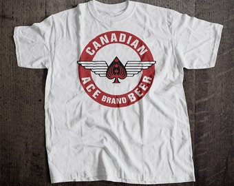 Canadain Ace Beer T-Shirt | Ringspun Unisex and Ladies Fit Tee | Vintage Bar and Brewery Label Clothing