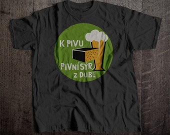 Pivni Syr Coaster T-Shirt | Ringspun Unisex and Ladies Fit Tee | Vintage Bar and Brewery Label Clothing