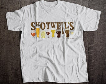 Shotwell's Glass T-Shirt | Ringspun Unisex and Ladies Fit Tee | Vintage San Francsico Bar and Brewery Label Clothing