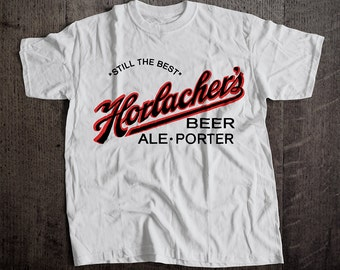 Horlacher Beer T-Shirt | Ringspun Unisex and Ladies Fit Tee | Vintage Bar and Brewery Label Clothing