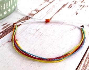 Rainbow bracelet   wax bracelet   adjustable   colors of the rainbow   roygbiv   love is love   pride