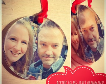 Acrylic glass-like ornament / photo ornament / red ribbon / ornament / Christmas / family memories / gift for her / gift for him / grandma