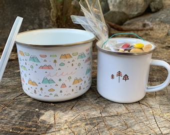 Camping kit / bowl & mug / stainless / nesting / mess kit / coffee / personalized / camping / outdoors / nature patterns / gift / backyard
