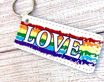 Love is love leather keychain   rainbow keychain  cute keychain   pride