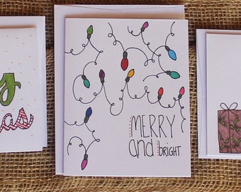 Christmas Cards (Pack of 5 different cards)-- greeting cards, lights, holidays, santa, trees, handmade, stocking, presents, gift, candycane