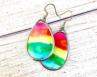 Rainbow earrings   cute watercolor   sterling silver   colorful earrings   pride   love is love