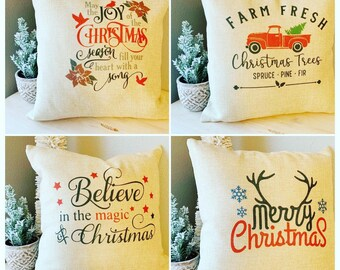 Christmas Pillow Covers   16x16 pillow case   cute Christmas designs   holiday decor   believe   truck   tree farm   Merry Christmas