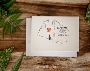 Yosemite Greeting Cards (Pack of 5 different cards)-- blank cards, mountains, quotes, sequoias, El Cap, Half Dome, Cathedral, free shipping