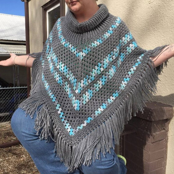 Ribbed Cowl Neck Poncho Crochet Pattern From Littleblackewe On Etsy