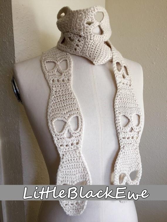 Crochet Skull Scarf Pattern Tutorial Halloween Etsy
