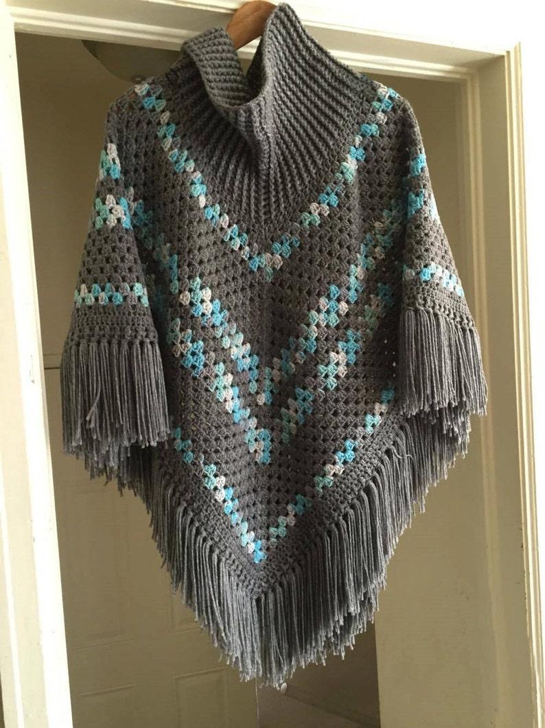 Crochet Cowl Neck Poncho Pattern Etsy