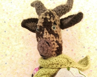 """Amigurumi goat, """"Blueberry"""" biquette tricolor, dressed in the spring a shabby"""