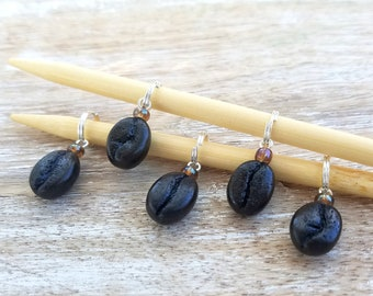 Coffee stitch markers Coffee bean stitch markers for knitting Gift for knitters Knitting markers Coffee charms Knitting accessories
