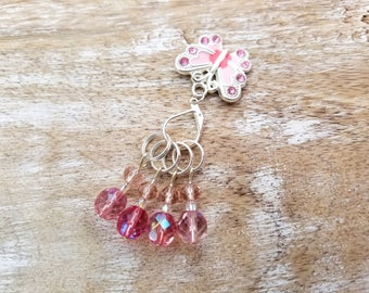 Pink beaded stitch markers Butterfly stitch marker Knitting supplies Knitting markers Gift for knitters Knitting tools Mother's day gift