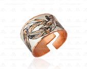 Native american feather design adjustable rings- lightweight, soft