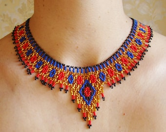 Egyptian necklace Egyptian jewelry Beadwork jewelry Beaded jewelry Gift for her Unique gift Gold red blue necklace statement necklace