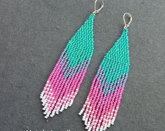 Birch pink earrings, long earrings, indian earrings, boho ethnic jewelry, bohemian jewelry, indian jewelry, girlfriend gift