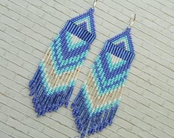 White blue earrings Long earrings Boho ethnic jewelry Bohemian jewelry Indian jewelry Gift for girlfriend