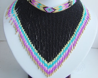 Black rainbow indian necklace Statement american necklace boho jewelry Summer beach necklace Indian black choker