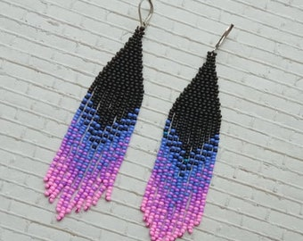 Black blue earrings, long earrings, indian earrings, boho ethnic jewelry, bohemian jewelry, indian jewelry, girlfriend gift