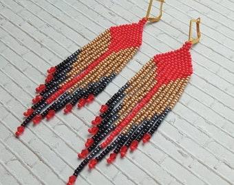 Red gold earrings Long earrings Indian earrings Boho ethnic jewelry Bohemian jewelry Indian jewelry Girlfriend gift