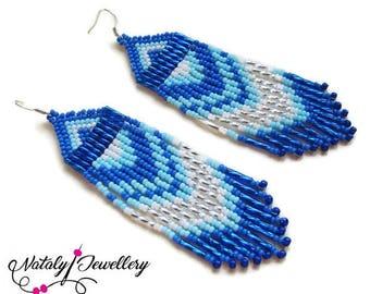 White blue earrings Long earrings Native american earrings Boho ethnic jewelry Bohemian jewelry Indian jewelry Gift for girlfriend