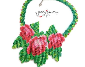 Rose necklace Flower colorful necklace Folk necklace Green red necklace Seed bead necklace Statement necklace Floral necklace Gift for bride